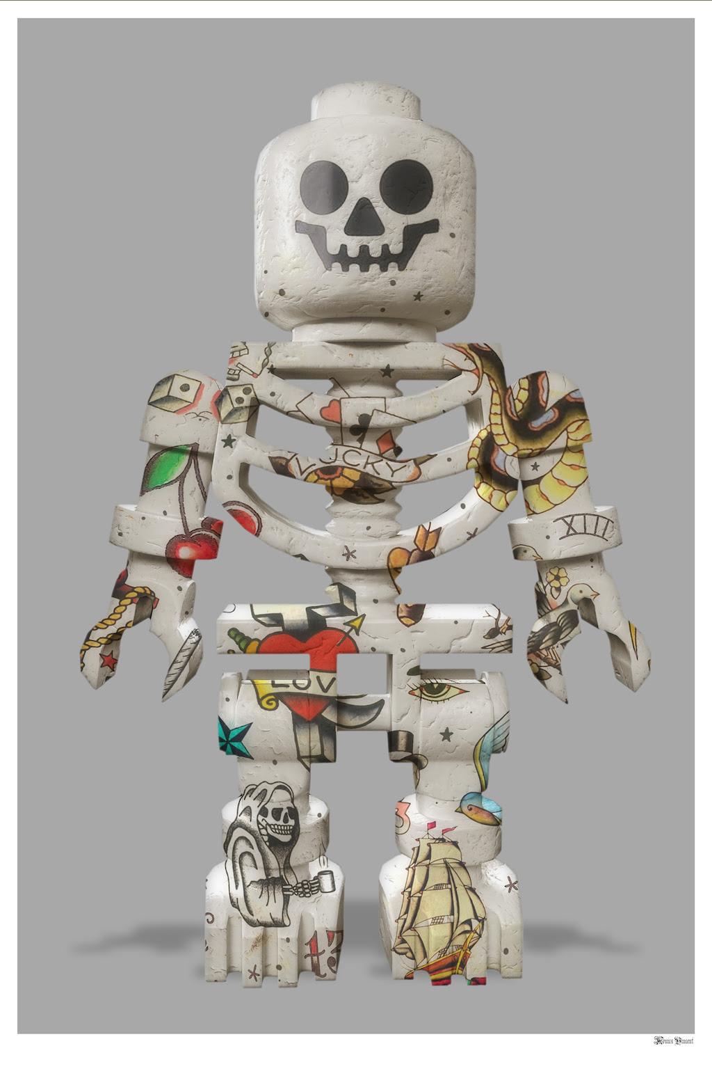 Lego Skeleton (Grey Background) - Large - Framed by Monica Vincent