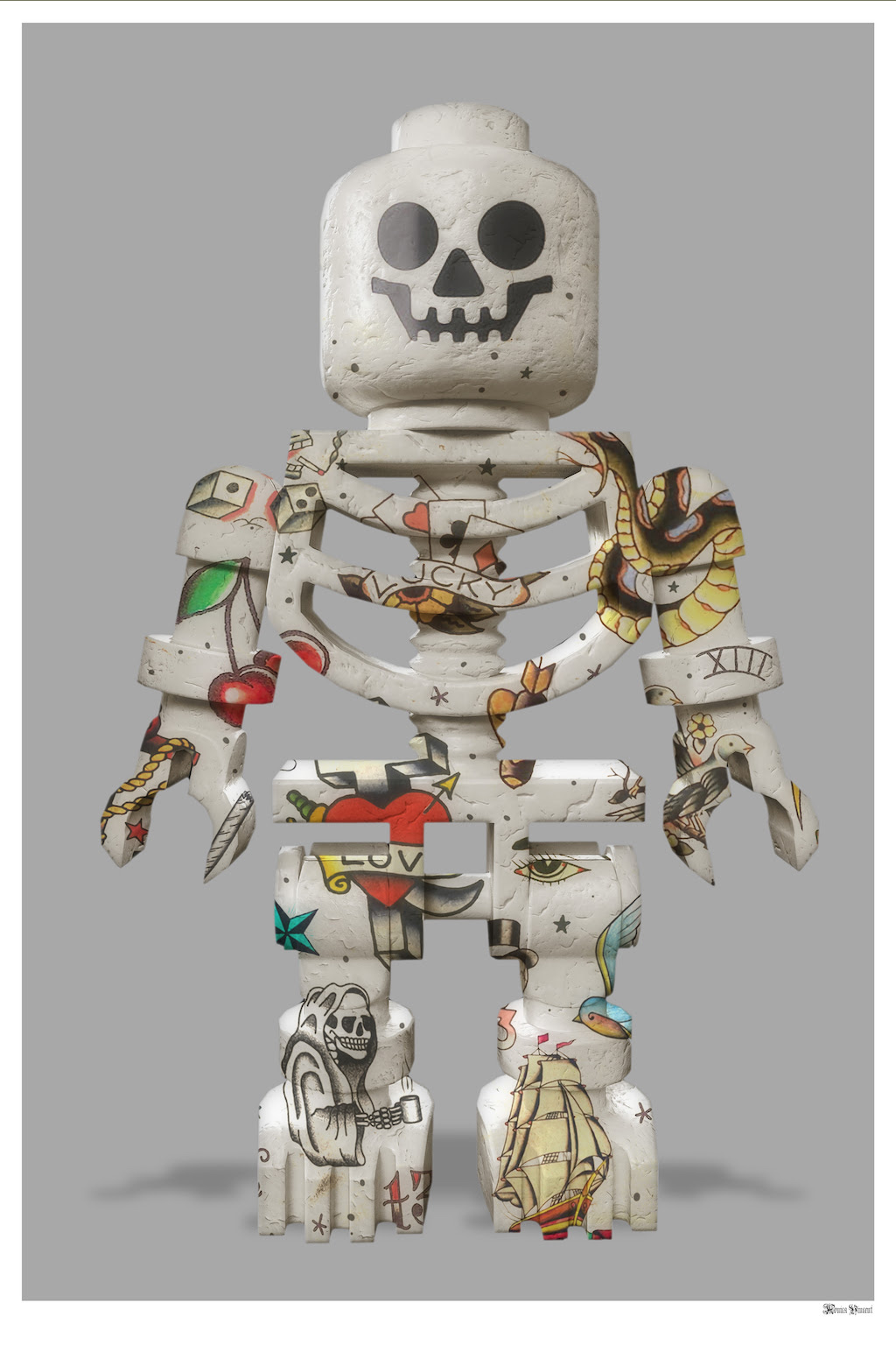 Lego Skeleton (Grey Background) - Small  by Monica Vincent