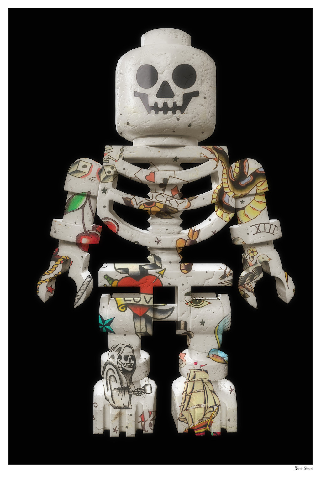 Lego Skeleton (Black Background) - Small - Framed by Monica Vincent