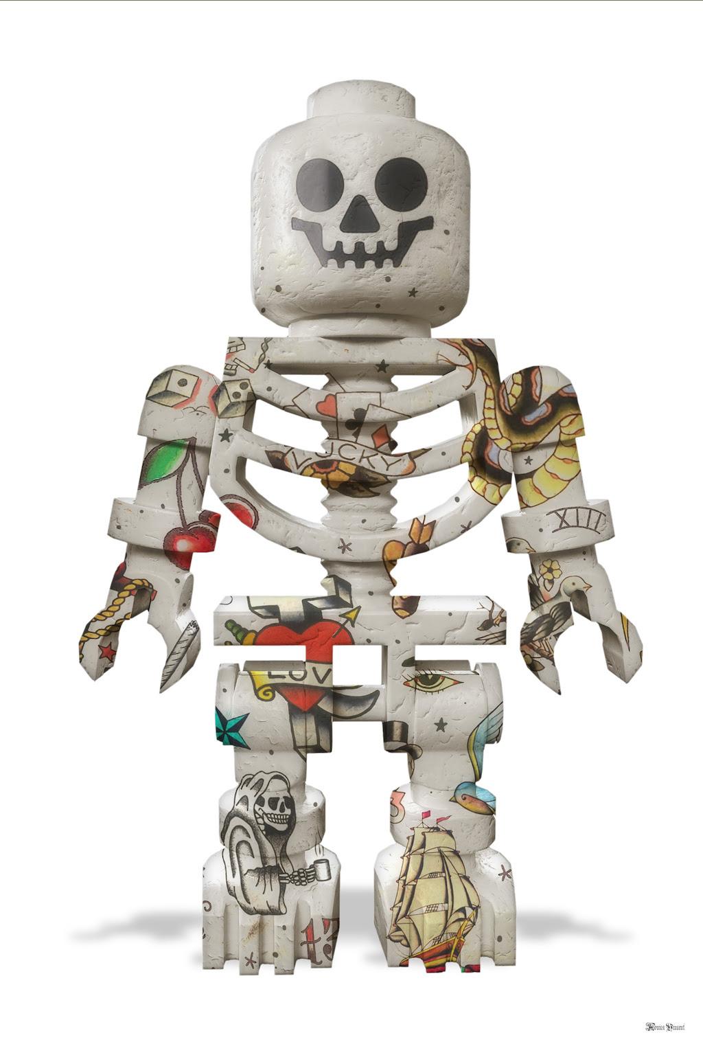 Lego Skeleton (White Background) - Large - Framed by Monica Vincent