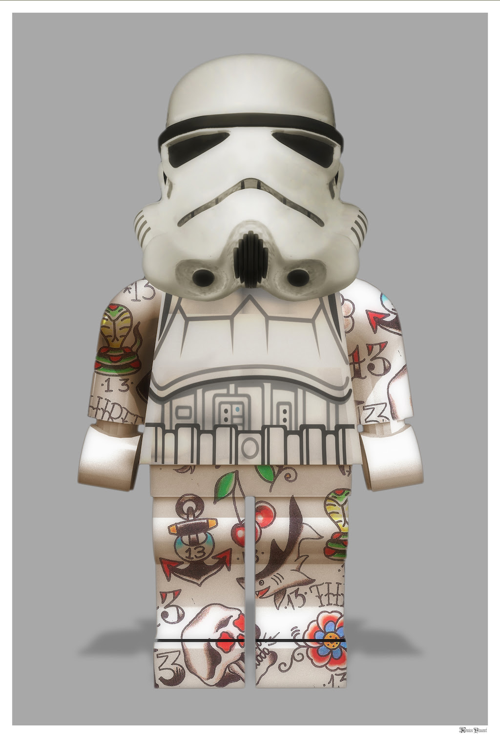 Lego Storm Trooper (Grey Background) - Large by Monica Vincent