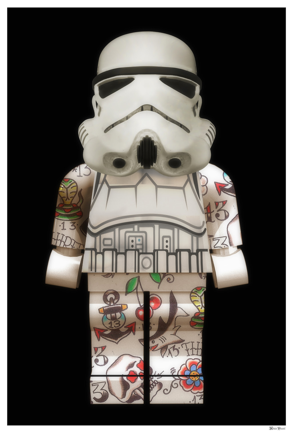 Lego Storm Trooper (Black Background) - Small  by Monica Vincent