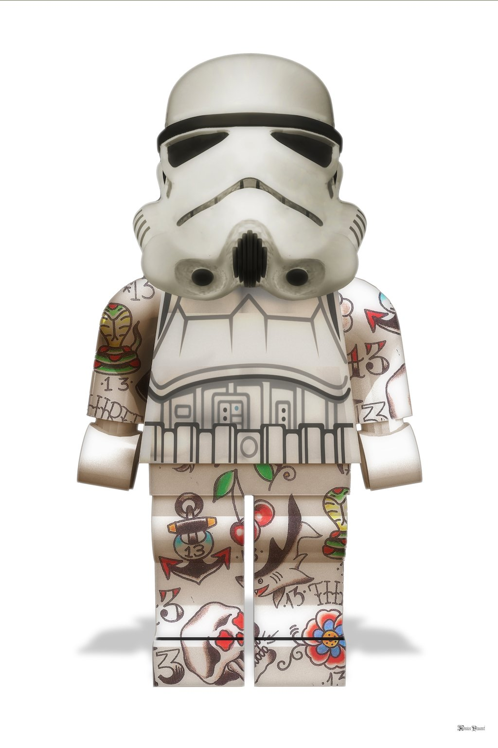 Lego Storm Trooper (White Background) - Large by Monica Vincent