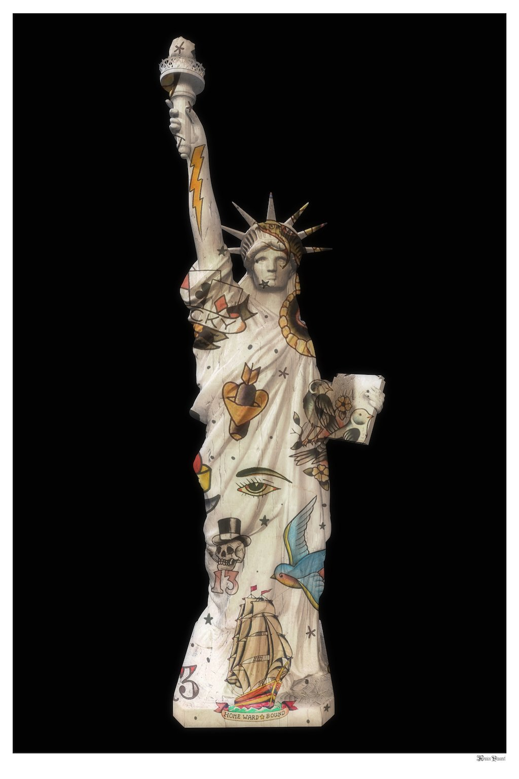 Liberty (Black Background) - Small  by Monica Vincent