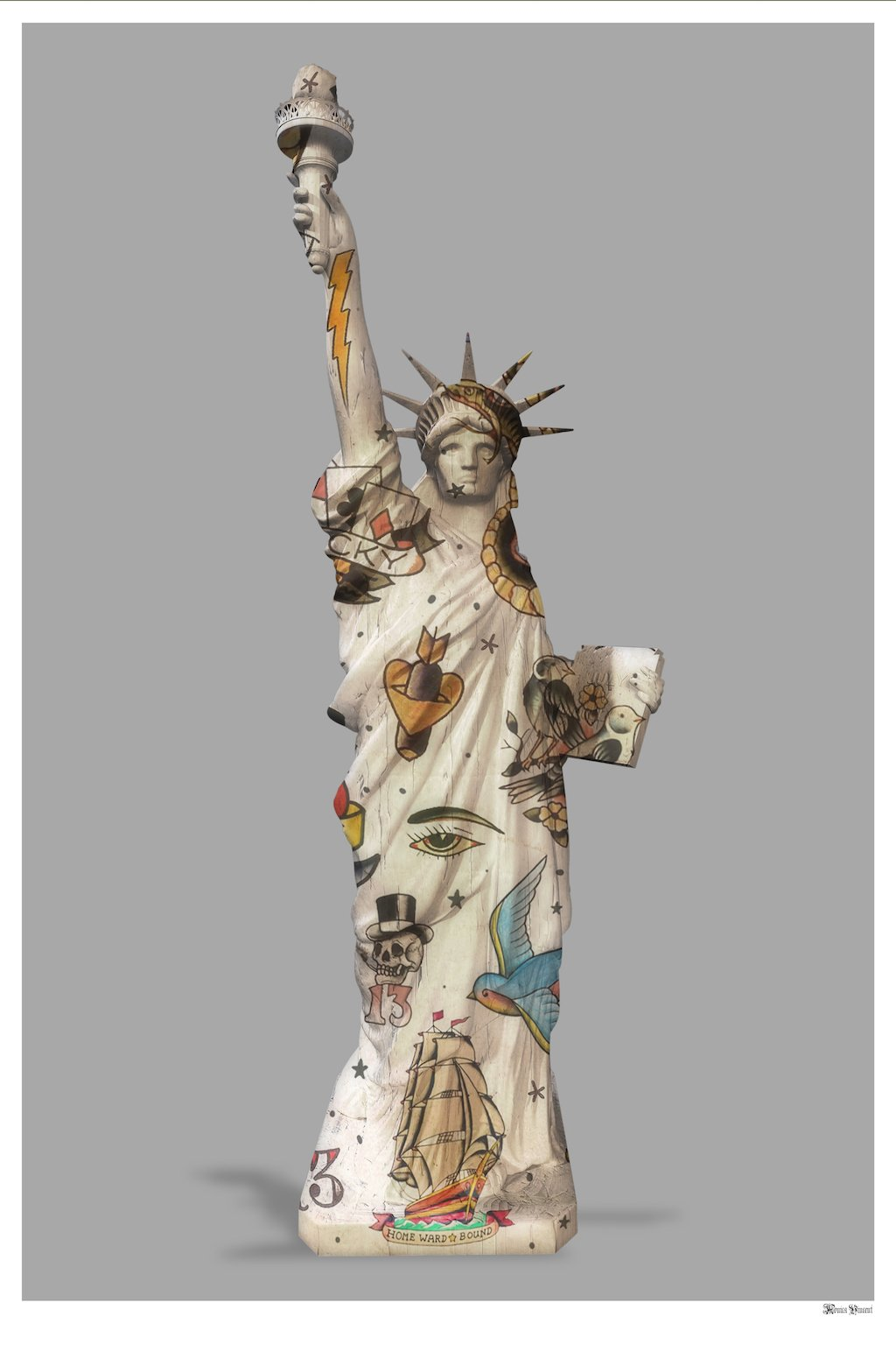 Liberty (Grey Background) - Small - Framed by Monica Vincent