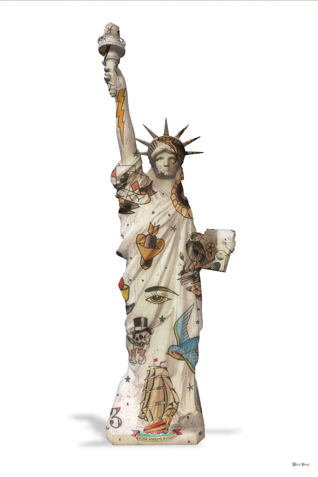 Liberty (White Background) - Small - Framed by Monica Vincent