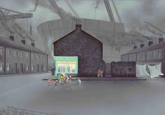 Little Davy's Got Chips And Gravy - Canvas - Framed by Leigh Lambert