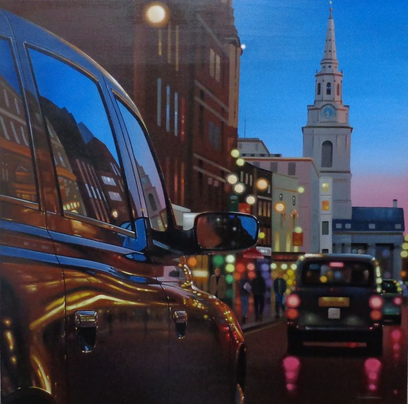 London Dusk Reflections - Mounted by Neil Dawson