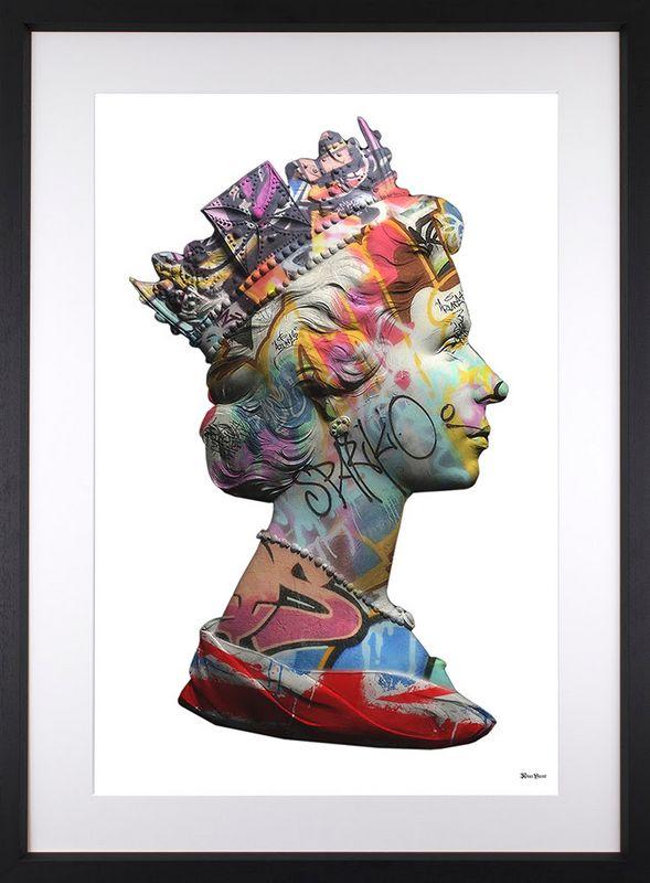 Long Live Queen-E - White - Regular - Black Framed by Monica Vincent