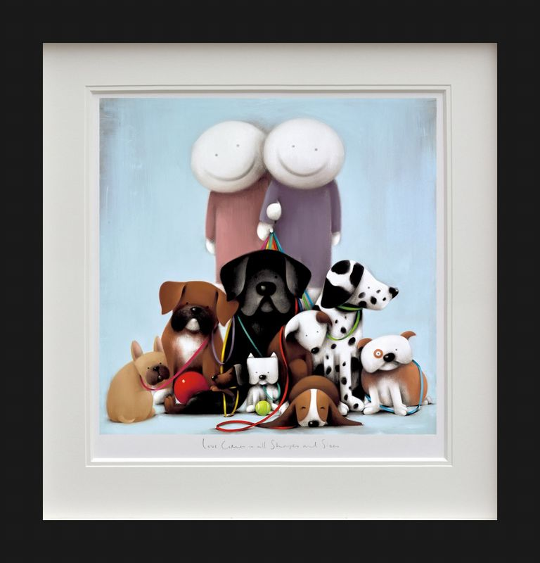 Love Comes In All Shapes And Sizes - Black - Framed by Doug Hyde