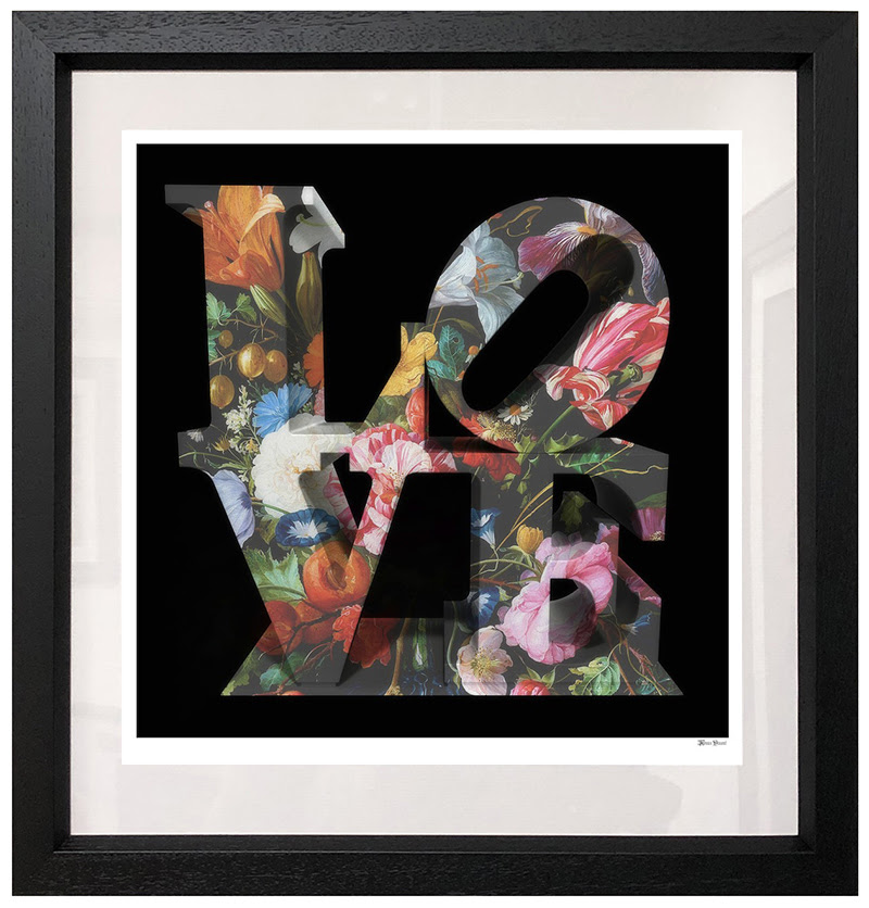 Love Floral - Black Background - Large - Framed by Monica Vincent
