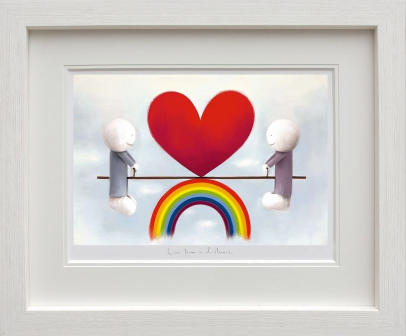 Love From A Distance - White Framed by Doug Hyde