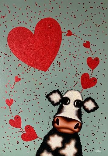 Love Is All Around Moo - Original by Caroline Shotton