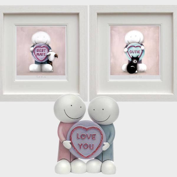 Love You Sculpture, Best Mate & Super Cutie (Set Of 3) - White - Framed by Doug Hyde