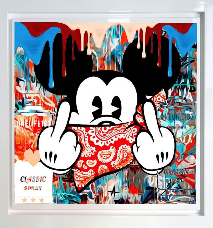 Mad Mickey - White - Framed by Onelife183