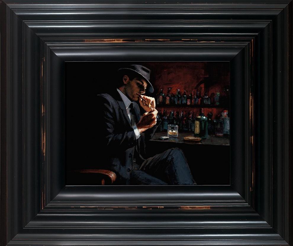 Man Lighting a Cigarette III - Framed by Fabian Perez