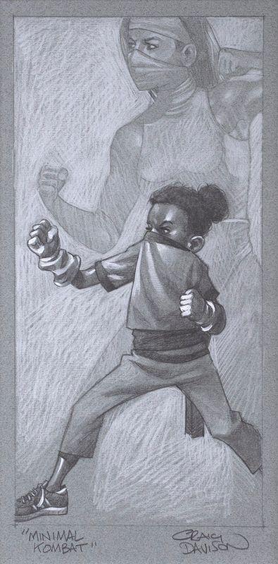 Minimal Kombat - Sketch - Artist Proof - Mounted by Craig Davison