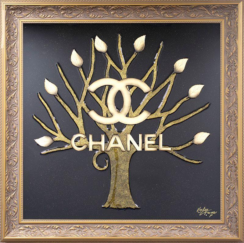 Money Grows On Trees - Chanel - Original - Gold - Framed by Kealey Farmer