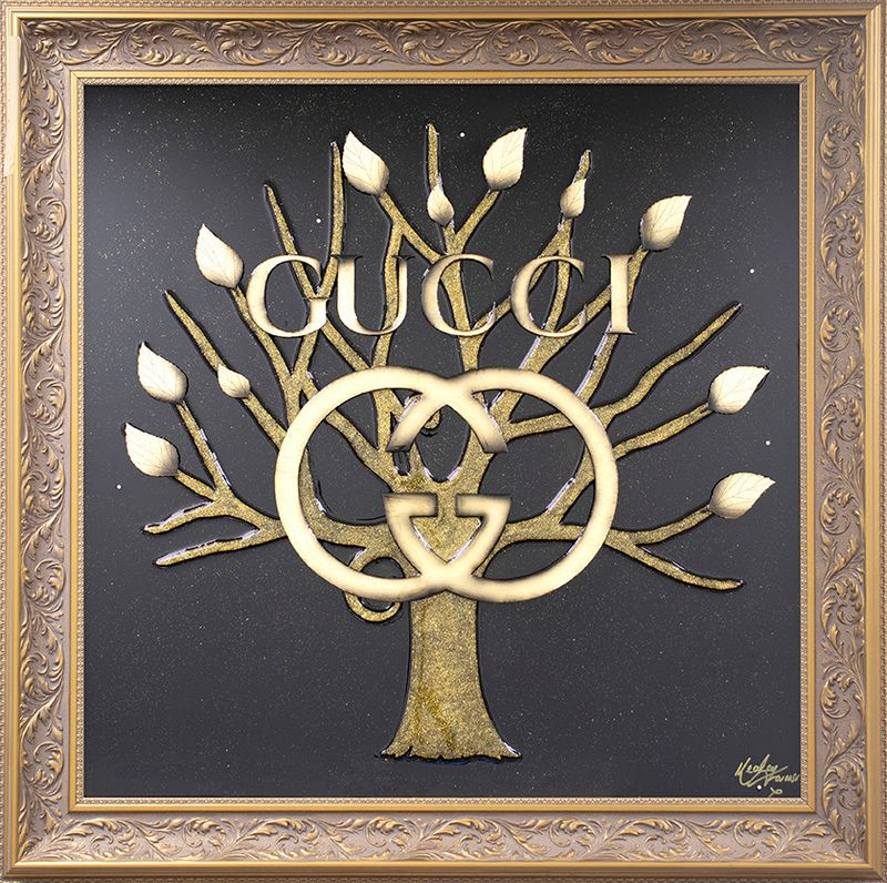 Money Grows On Trees - Gucci - Original - Gold - Framed by Kealey Farmer