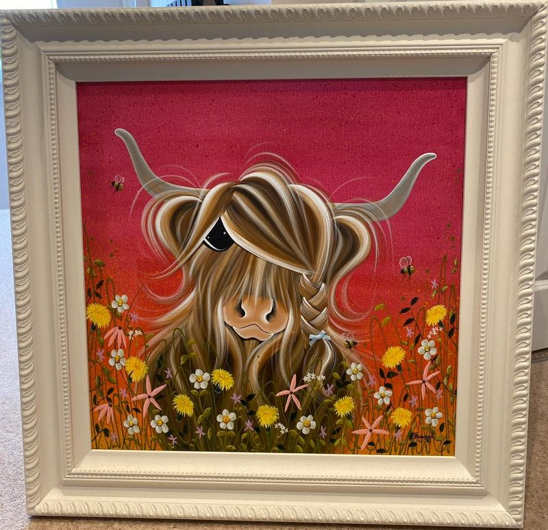 Moo In The Sunset Meadow - Original by Jennifer Hogwood