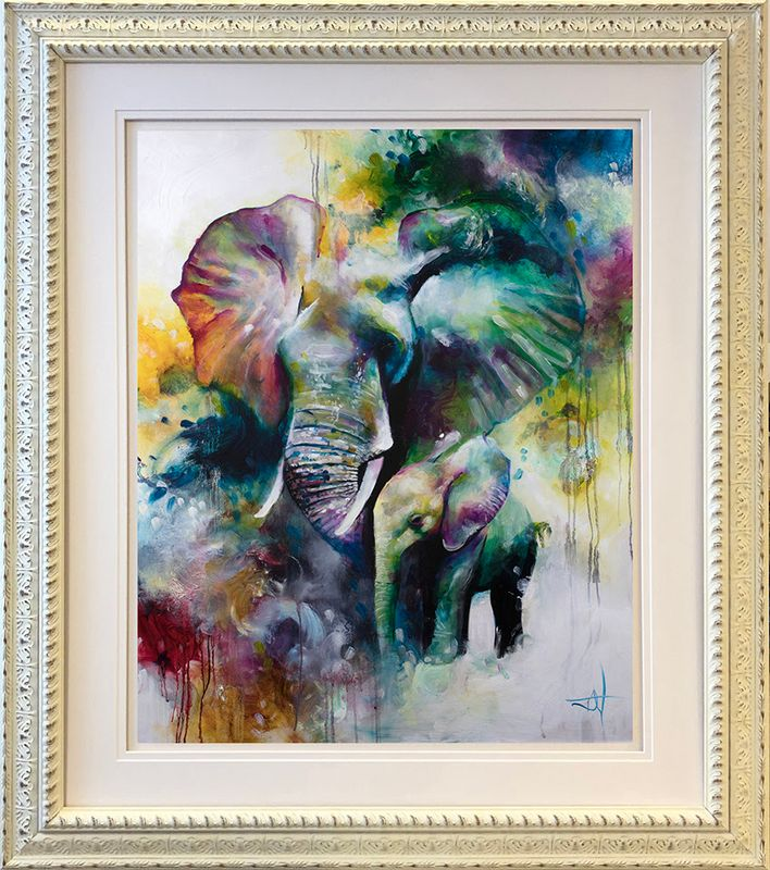 Mother And Baby Elephant 2019 - Framed by Katy Jade Dobson