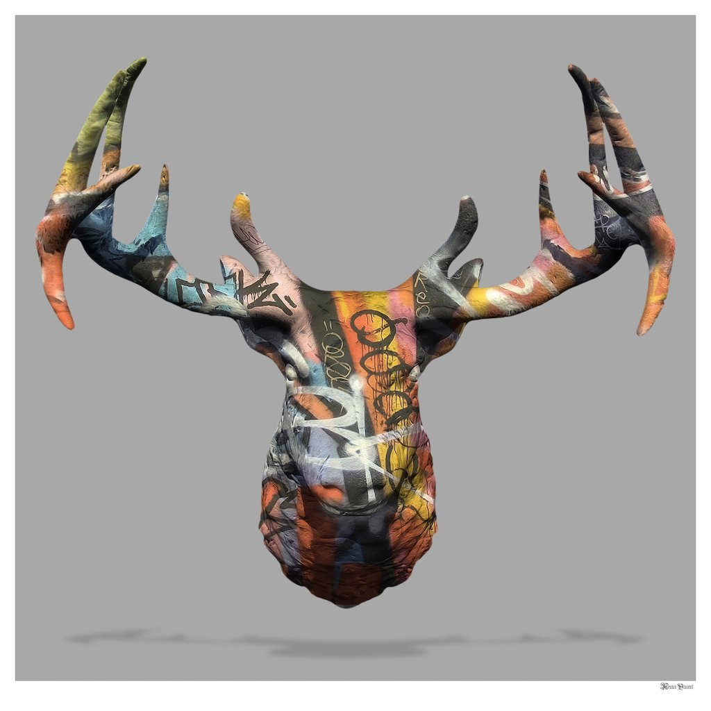 My Deer Graffiti Stag Head (Grey Background) - Small  by Monica Vincent