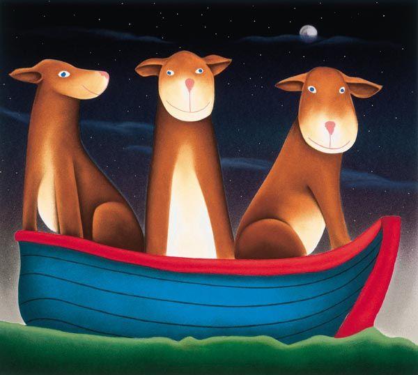 My Three Dogs In A Boat by Mackenzie Thorpe