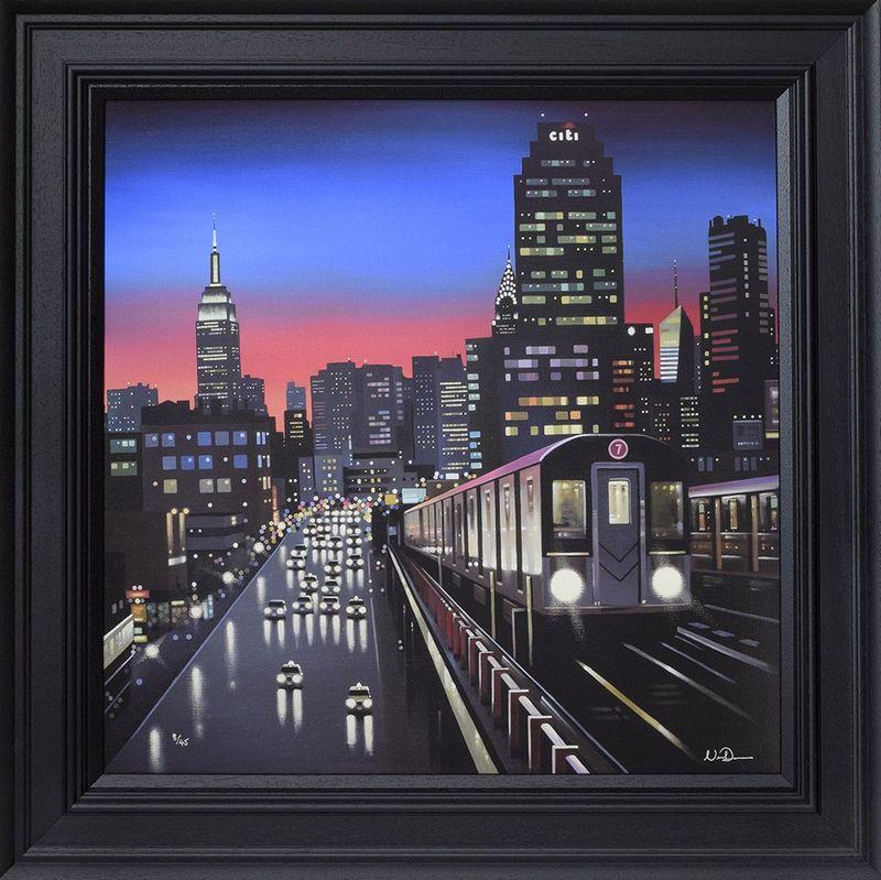 New York Tracks - Canvas - Artist Proof Black - Framed by Neil Dawson