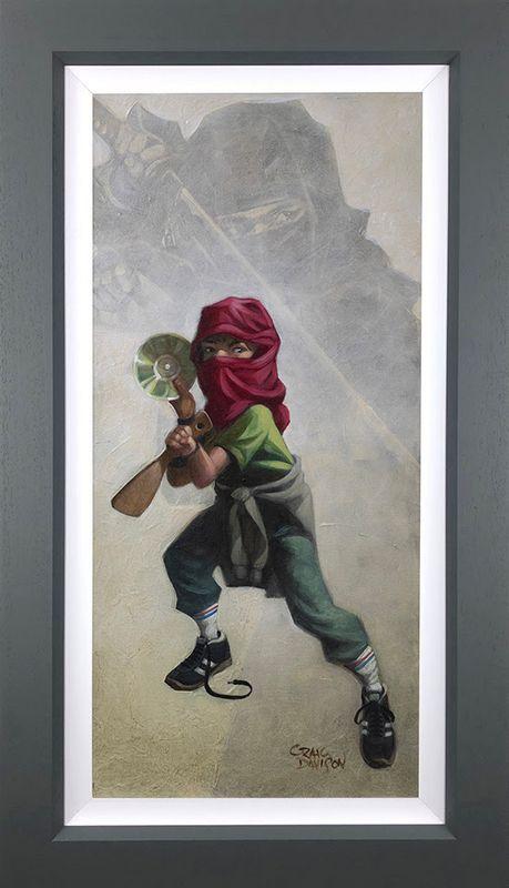 Ninja Star - Canvas - Artist Proof Grey - Framed by Craig Davison