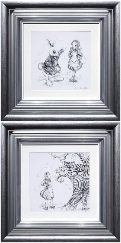 Oh My Fur And Whiskers & We're All Mad Here - Sketch Editions Set Of 2 - Framed by Kerry Darlington