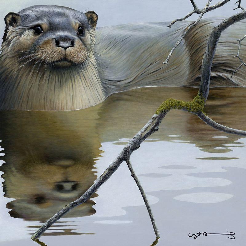 Otter - British Wildlife Series - Original - Framed by Nigel Hemming