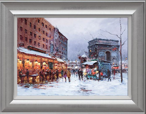 Paris In The Snow - Framed