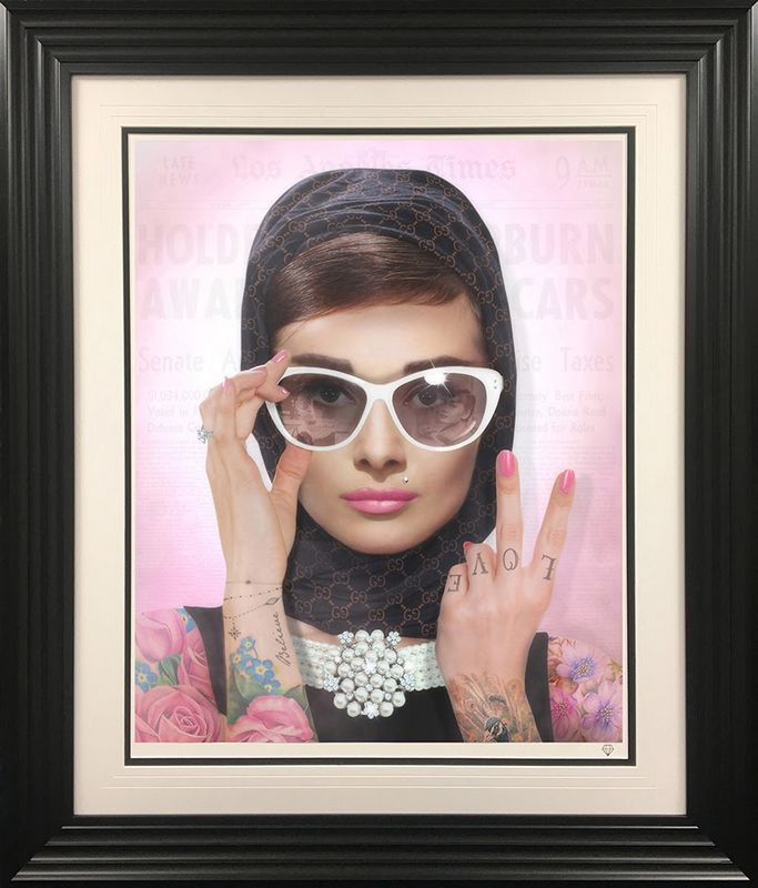 Peace, Love & Audrey - Colour Tattoo - Framed by JJ Adams