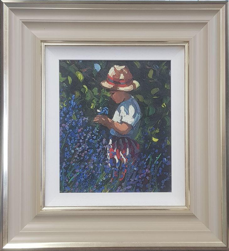Picking Bluebells - Cream - Framed by Sherree Valentine Daines