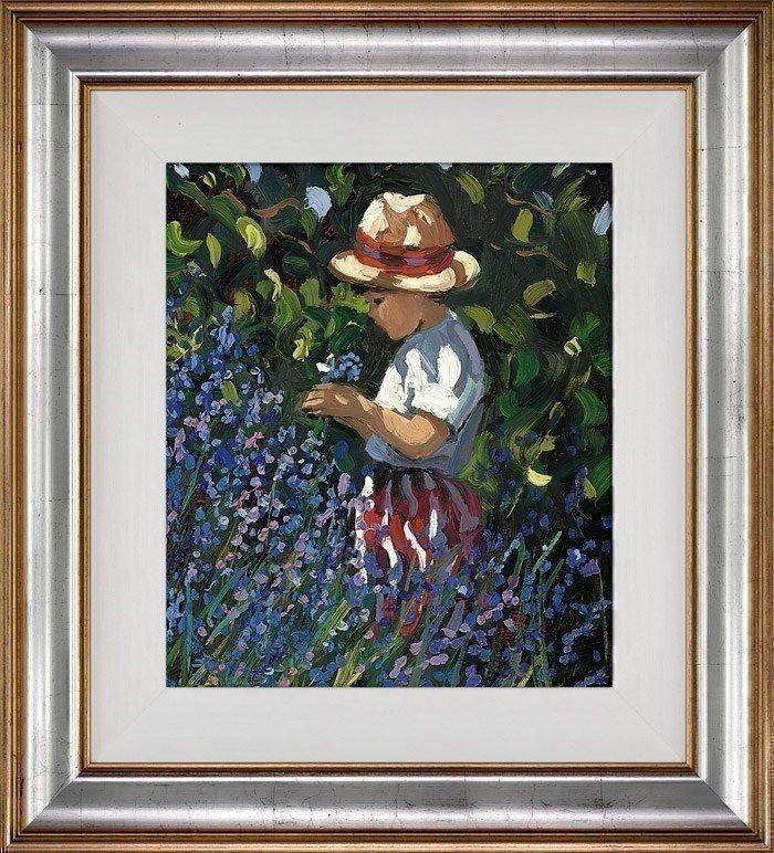Picking Bluebells - Silver-Gold - Framed by Sherree Valentine Daines