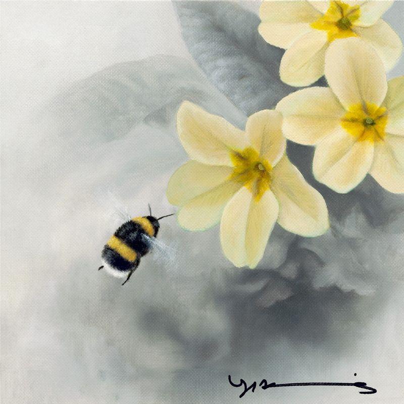 Primrose - White Tail Bee - Original by Nigel Hemming