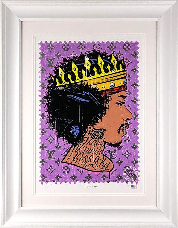 Purple Haze - Jimi Hendrix - White - Framed by JJ Adams