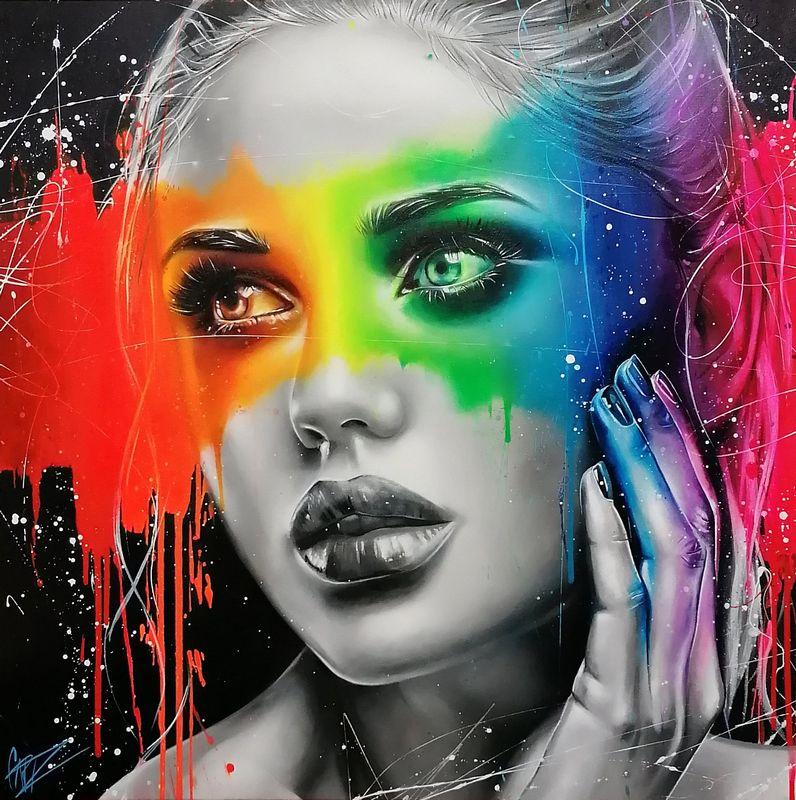 Rainbow In The Dark - Original  - Framed by Emma Grzonkowski