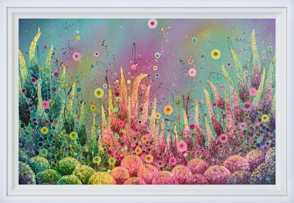 Rainbows Blossoming - Original - White Framed by Leanne Christie
