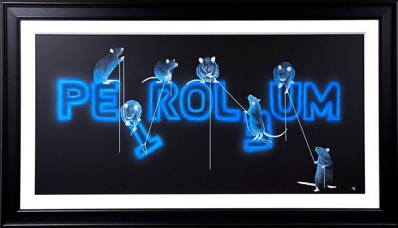 Rats Fixing Petroleum - Original - Framed by Dean Martin *Mad Artist