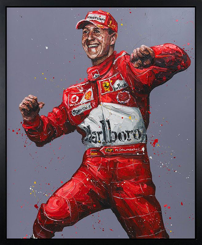 Records Were There To Be Broken (Schumacher) - Canvas - Black Framed Box Canvas by Paul Oz