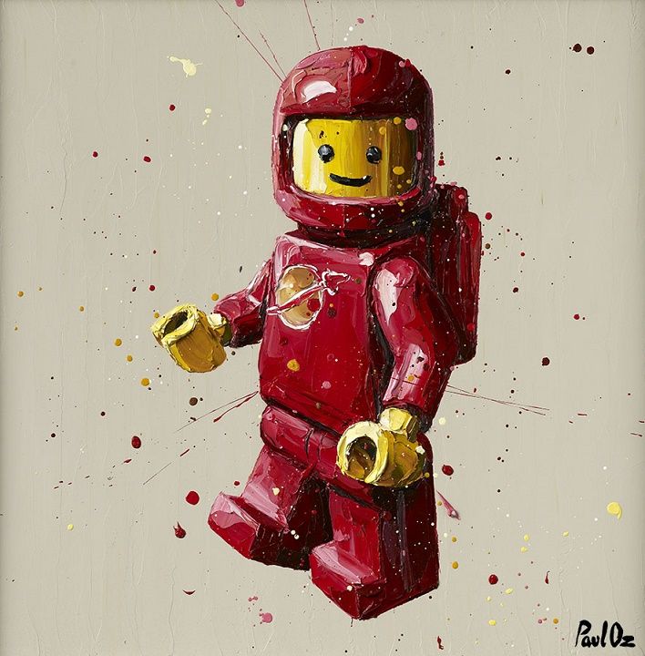 Red Lego - Canvas - Black - Framed by Paul Oz