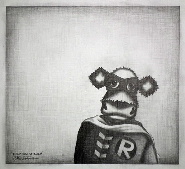 Robin-Moo - Original Sketch - Black Framed by Caroline Shotton