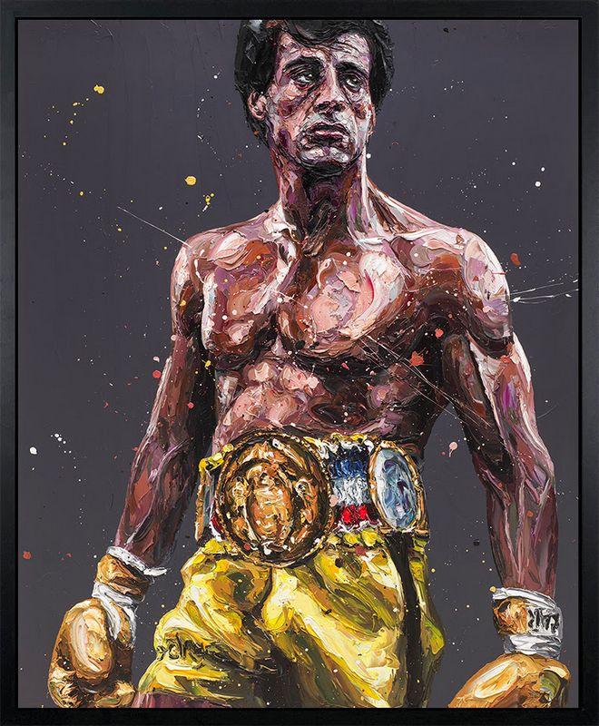 Rocky - Canvas - Artist Proof Black Framed Box Canvas by Paul Oz