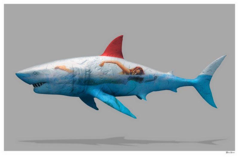 Safe To Swim - Large - Grey - Hand Embellished Frame - Framed by Monica Vincent