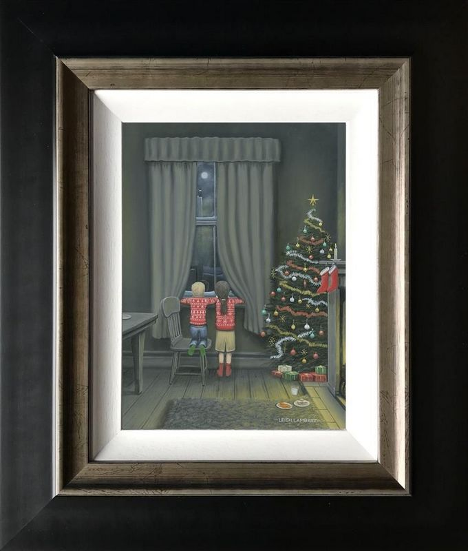 Santa On His Way - Canvas - Black - Framed by Leigh Lambert