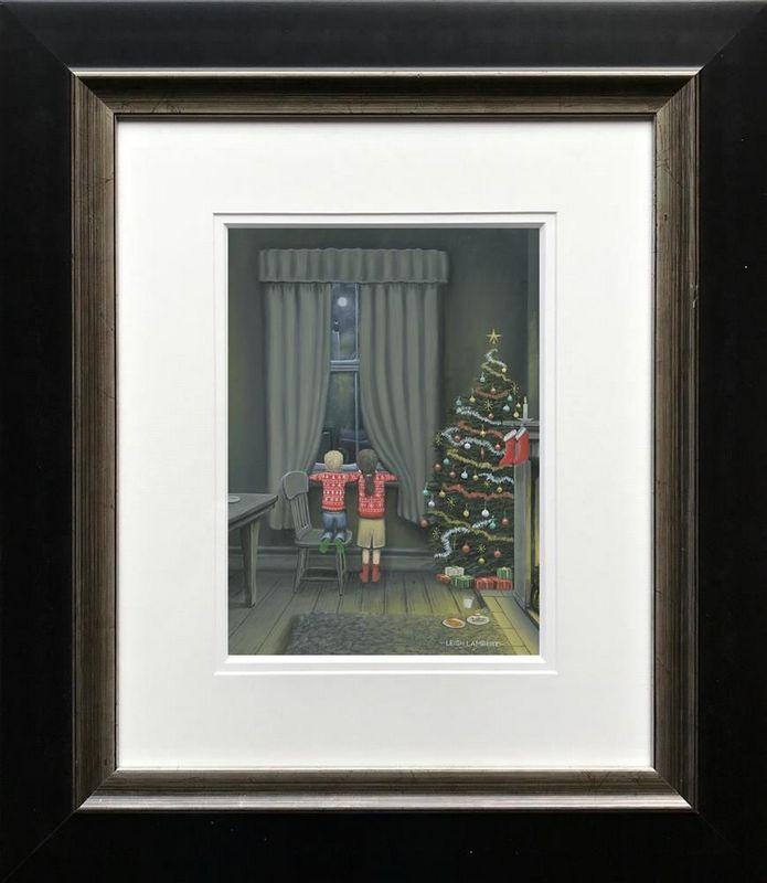 Santa On His Way - Paper - Black - Framed by Leigh Lambert