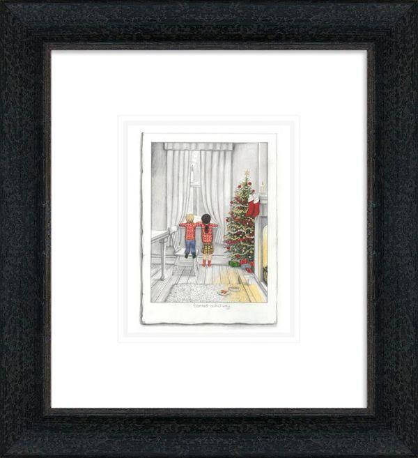Santa On His Way - Sketch - Black - Framed by Leigh Lambert