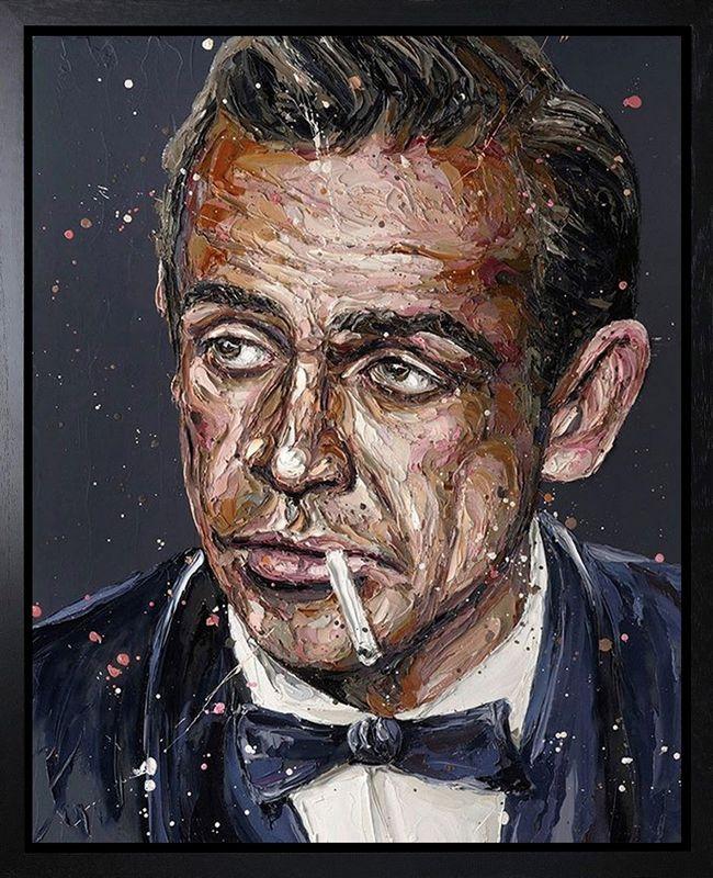 Sean Connery 007 - Canvas - Artist Proof Black Framed Box Canvas by Paul Oz
