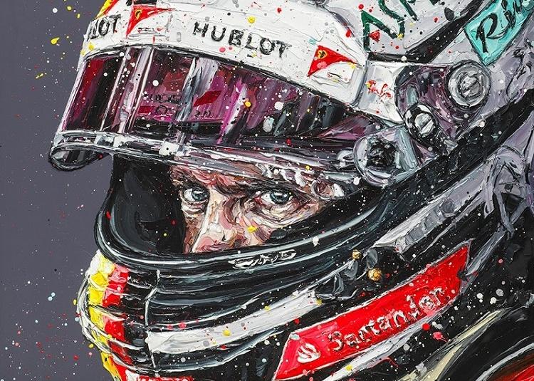Seb, Focused (Sebastian Vettel) - Canvas  - Framed by Paul Oz